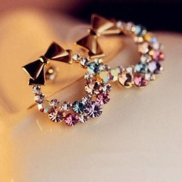 New Fashion Women Lady Elegant Crystal Rhinestone Ear Stud Earrings Gift 1pair  [10444779604]
