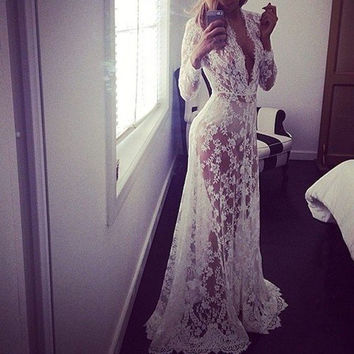 Summer European Style Womens Sexy Lace Embroidery Maxi White Dress See Through