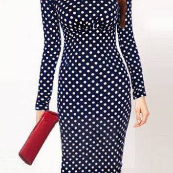 Polka Dot Long Sleeve Midi Dress