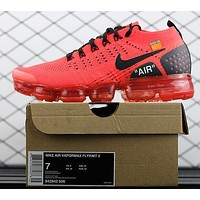2018 OFF WHITE Nike Air Vapormax Flyknit 2.0 Red 942842-006 Sport Running Shoes - Sale