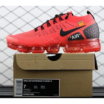 2018 OFF WHITE Nike Air Vapormax Flyknit 2.0 Red 942842-006 Sport Running Shoes