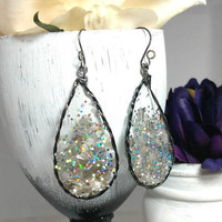 Resin jewelry, Black and Silver earrings, Glitter earrings, Black dangle earrings, Teardrop earrings, Unique black earrings, Gift for her