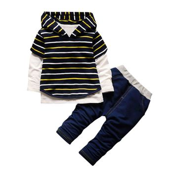 3 Piece Boy Clothes Hoodie Stripe Shirt Tops +Pants Outfits