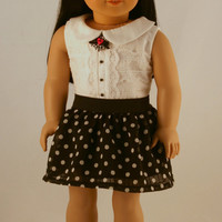 American Girl Doll Clothes - Peter Pan Collar Blouse and  Polka Dot Skirt with Lining