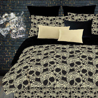 Street Revival Flower Skull Queen Comforter Set by Street Revival Bedding: The Home Decorating Company
