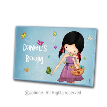 Personalized door plaque hanger for children , custom sign girl with butterflies , girls room or nursery original illustration