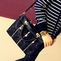 Nice Retro Lace Handbag & Shoulder Bag-Black