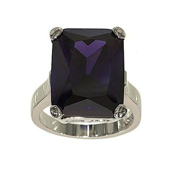 Very Large Amethyst Cubic Zirconia Single Stone Cocktail Ring with Silvertone Double Base Setting