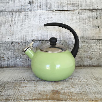 Enamel Tea Kettle Retro Green Metal Teapot with Resin Handle Vintage Whistling Tea Kettle Green Teapot Mid Century Retro Kitchen