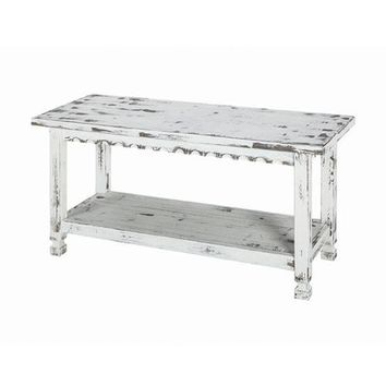 Distressed White Reclaimed Wood Entryway Bench