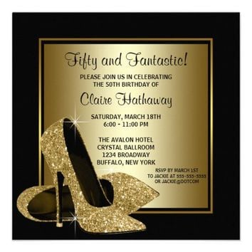 Black Gold High Heels Womans Birthday Party Announcement from Zazzle.com