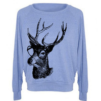 Womens Buck Deer Genius Woodland Sweatshirt Raglan Pullover Sweater  - American Apparel - S M and L (6 Color Options)