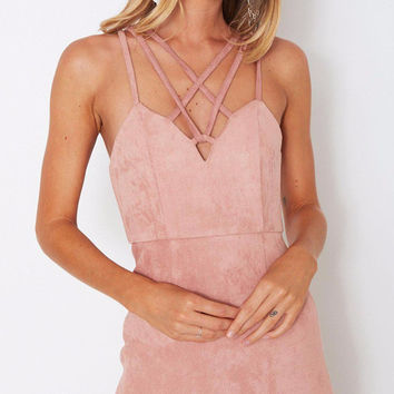 Criss-Cross Front Suede Cocktail Dress