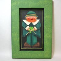 St. Patricks Day, Luck of the Irish, Leprechaun, Framed in Greens, Tole Painted