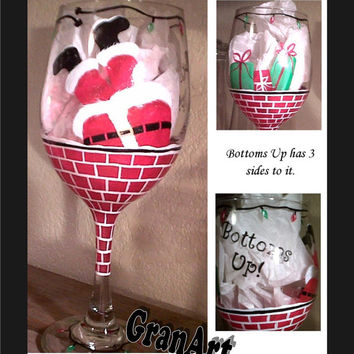 Santa Wine Glass, Santa, Chimney, Christmas Wine Glass, Hand Painted Wine Glass, Bottoms Up Wine Glass, Wine Glass, Christmas Decor, Gift