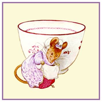 Lady Mouse Tea Cup inspired by Beatrix Potter Counted Cross Stitch Pattern