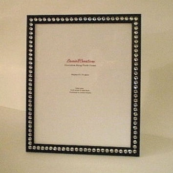 BLACK & BLING 8 x 10 Picture Frame -black w/ clear rhinestones