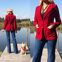 Vintage 1970's RUBY Red Velvet Fitted Boho Blazer || Ladies Small Size 2 to 4