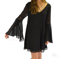 Maplewood Black Crochet Bell Sleeve Dress