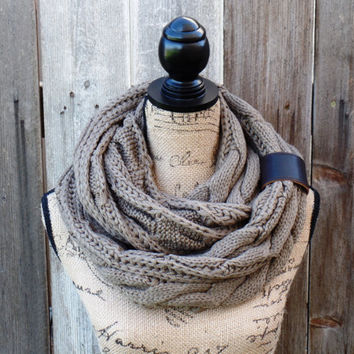 SALE Mocha Chunky Cable Knit Infinity Scarf, Womens Knit Winter Scarves, Womens Knit Infinity Beige Scarf, Cable Knit Infinity Mocha Scarf