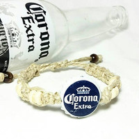Beer Bottle Cap Macrame Bracelets/Unisex Boho Hippie Jewelry/Friendship Bracelets/Corona Extra Beer