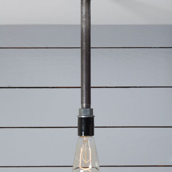 Black Pipe Pendant Light - Bare Bulb Lamp