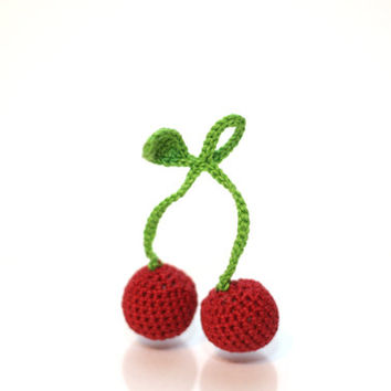 Crochet Cherries (a pair) Play Food Crochet berries Play Kitchen food Kids Toy Crochet Educational toy Kitchen decor Stuffed Montessori