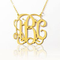 Gold Monogram Necklace Personalized Name Monogram letters Customized Gold Monogram Nameplate Necklace 3 Intial Gold Monogram - Sweet 16 gift