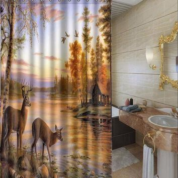 Forest River Deer Elk Printed Bathroom Waterproof Polyester Shower Curtain + 12 Hooks 60x71 Inch