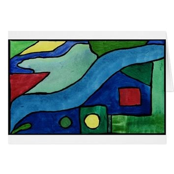 Glass Window Abstract Painting Card
