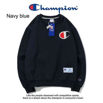 Champion winter tide brand couple casual round neck classic embroidered letter sweater Navy blue