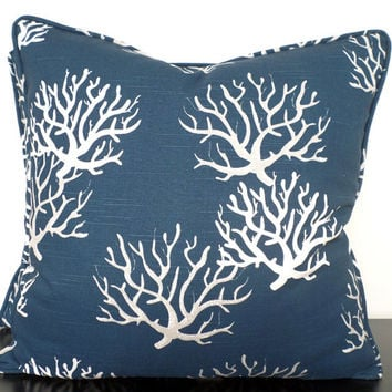 Blue coral pillow cover 18x18, blue accent pillow beach theme decor, coastal pillow piping, blue and gray sofa cushion, ocean coral cushion