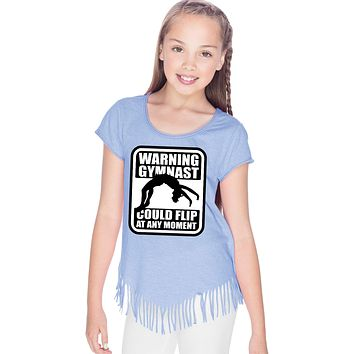 Girls Gymnastics T-shirt Warning Gymnast Fringe Tee