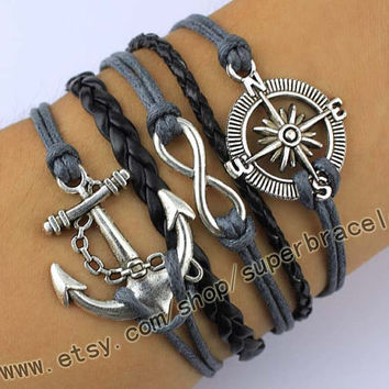 Anchor, compass, infinity bracelets, Antique Silver Bracelet, Vintage style Bracelet, daily bracelets, bridesmaid gift, Christmas gift
