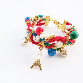 Eiffel bracelet , red blue green white , braided bracelet , statement bracelet , arm party ,friendship bracelet , red jewelry,fancy bracelet