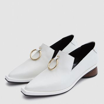 Reike Nen / Ring Square Loafer in White/Brown
