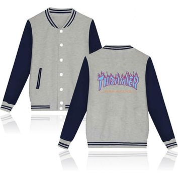 Thrasher flame special large size tide coat plus cashmere couple baseball clothing Blue letters-2