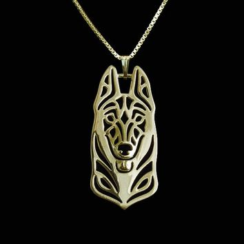 Fashion Belgian Malinois Necklace 3D Hollow Out Dainty Puppy Dog Pendant Memorial Necklaces Christmas Gift For Women Friend