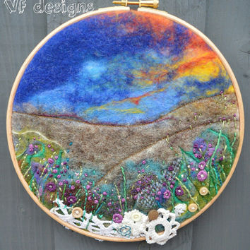 "handmade original wet felt 'The Moors' picture.  8"" embroidery hoop"