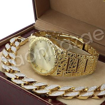 Men Hip Hop 14K Gold PT Luxury Bling Watch Sandblast Bracelet Set F26G