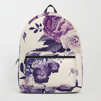 Purple floral boho pattern Backpack by printapix