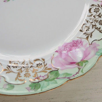 Mz Austria Porcelain Hand Painted Serving Plate, Collectible, Replacement China, Gifts for Her, Elegant Cottage Style, Wedding Dinner Plate