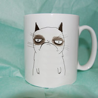 grumpy cat cute mug coffee, mug tea, size 8,2 x 9,5 cm heppy cofee.