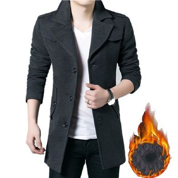 New Arrival Winter Autumn Men Wool Coat Full Sleeve Slim Men Casual Blends Fashion Solid Clothes Turn down Collar Woolen Coats