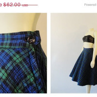 SALE Vintage Skirt Rockabilly 50s Rosecrest Blue & Green Plaid Full Sweep Skirt Modern Size Small