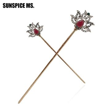 New  Exquisite Lotus Hair Sticks Hairpins Women Hair Jewelry Antique Gold Color Turkish Resin Bridal Cleopatra Hairpin Jewelry