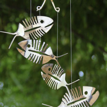 Rustic Bonefish Upcycled Flatware Windchime - Rustic Patina Silver Plate Skeleton Spoon Fish Mobile Art - Cute Outdoor Halloween Decoration