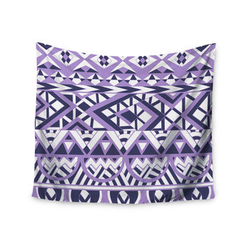 "Pom Graphic Design ""Tribal Simplicity II"" Purple White Wall Tapestry"