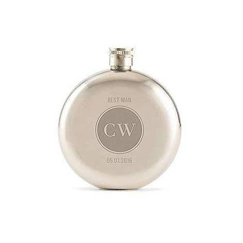 Circle Monogram Etched Round Silver Hip Flask (Pack of 1)