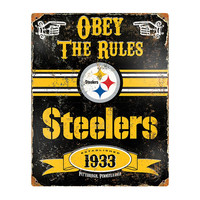 Pittsburgh Steelers NFL Vintage Metal Sign (11.5in x 14.5in)